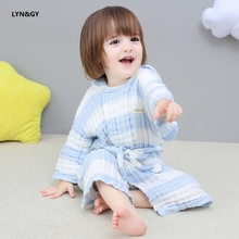 LYN&GY New Cotton gauze Beach Towel Baby Children Hooded Bath Boys Girls Cartoon Soft for bathrobes