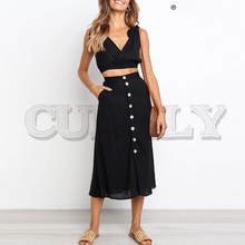 CUERLY Sexy black v-neck two pieces set women dress Elegant buttons female Bohemian casual summer beach sundress 2019