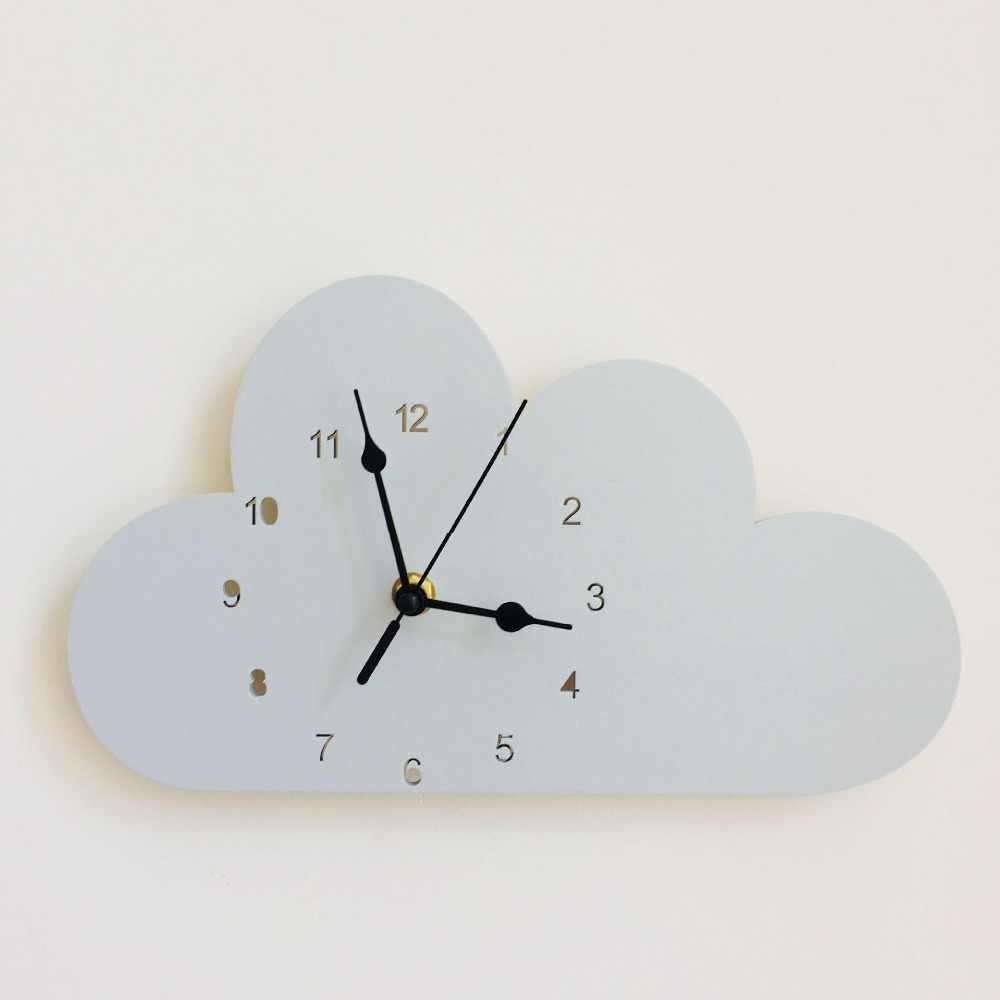 Nordic Style Nursery Kids Decor Clock Swan Bear Cloud Wall Hanging Wood Toys Model Baby