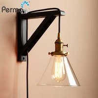 Permo Modern Handmade Wooden Lamp Hook Wall Sconce Light Vintage Funnel Glass Wall Lamp With Wood Stand Lights Fixture Home Bar