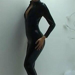 Image 3 - Lencería Sexy de látex negro para mujer, Catsuit erótico de piel sintética, mono de PVC con cremallera frontal y entrepierna abierta, ropa de discoteca de baile en barra