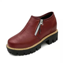 Women pu Leather Creepers Oxfords Platform Flats Shoes 2017 Spring autumn ZIPPER and Round toe women's shoes low boots  ZM588