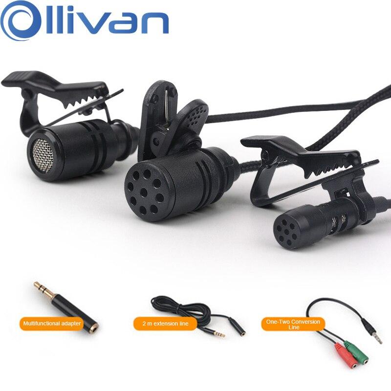 Mini micrófono portátil Lavalier condensador solapa micrófonos corbata Clip Audio Mic para ordenador PC teléfono Laptop Cámara agregar adaptador