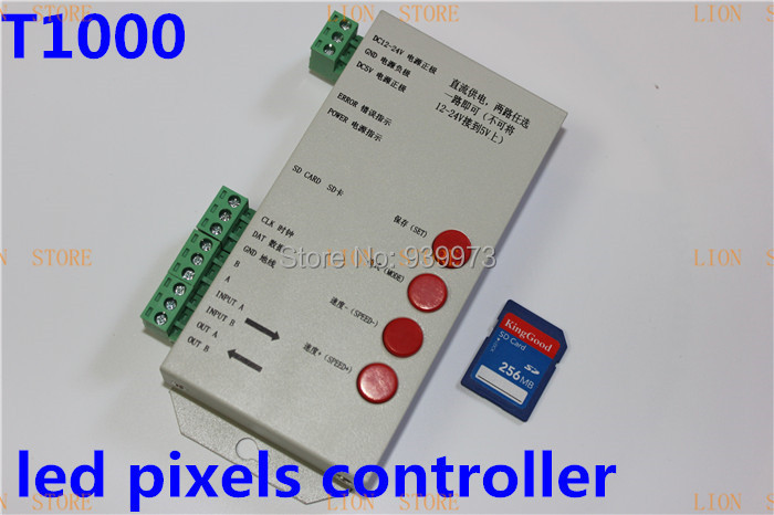 ФОТО original T1000S SD card for WS2801 WS2811 LPD6803 led pixel controller RGB full color DMX512 2013 new version DC5V-24V RGB