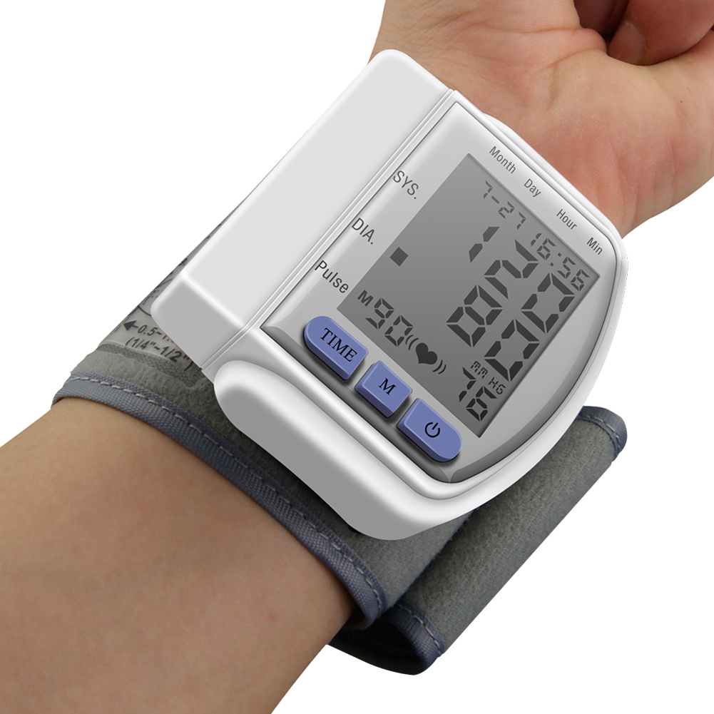 Blood Pressure Monitor Automatic Digital Manometer Tonometer on the Wrist Cuff Arm Meter Gauge Measure Portable