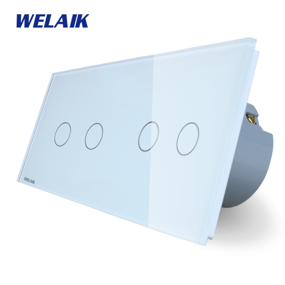 WELAIK Brand manufacturer 2Frame Crystal Glass Panel Wall Switch EU Touch Switch  Light Switch 2gang1way AC110~250V A292121CW/B manufacturer smart home white crystal glass panel us au wall light touch switch 2 gang 1 way power 110 250v with led indicator
