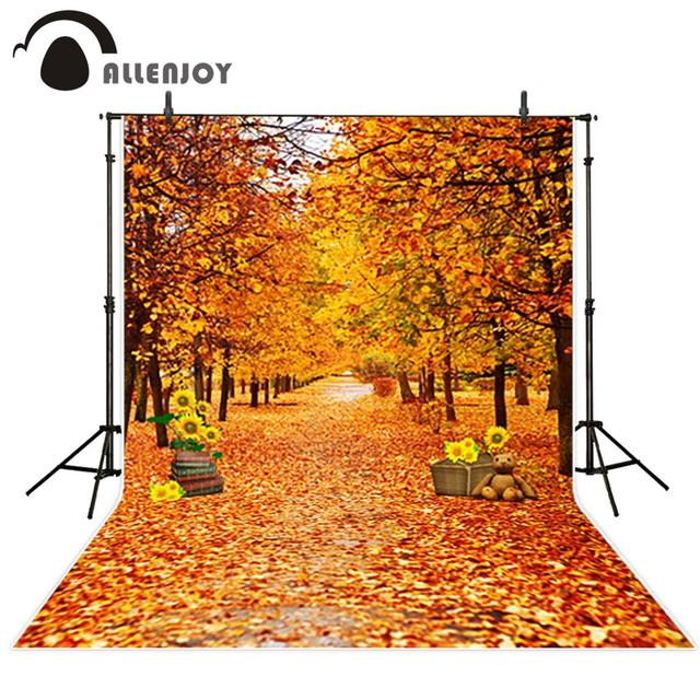 Allenjoy Photo Background Forest Fall Leaves Golden Sunflower Toy Bear Booth For Backgrounds