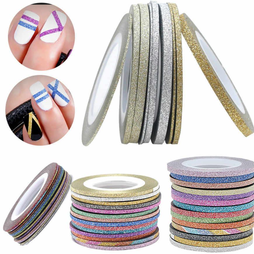 12 สี 1Mm Glitter Nail Stripingเทปชุดสติกเกอร์ศิลปะตกแต่งDIYเคล็ดลับสำหรับเล็บเจลRhinestones decorat Jmc11