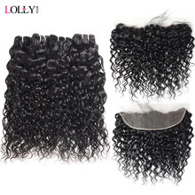 Lolly Peruvian Water Wave Bundles With Frontal Free Part Pre Plucked Lace Frontal Closure With Bundles 100% Human Hair Non Remy