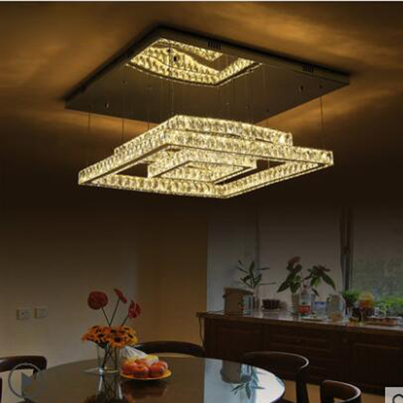 Гостиная лампы Прямоугольные дома атмосферное кристалл лампа простой современный Ресторан светодиодные всасывания висит двойной светоди