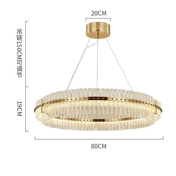 European Luxury Crystal Pendant Chandelier Led Lamp Post Modern Round Stripe Creative Lighting Fixture
