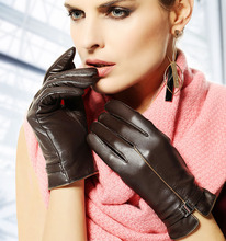 Fashion Genuine Leather Gloves For Women Short Winter Warm Glove Top Quality Black Red Brown 1 Pair/Lot