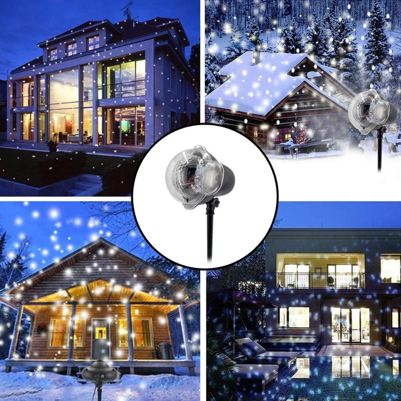 Mini Plastic Snowflake LED Laser Lamp Projector Outdoor Waterproof Night Light For Christmas Festival Supplies Decoration Lamp
