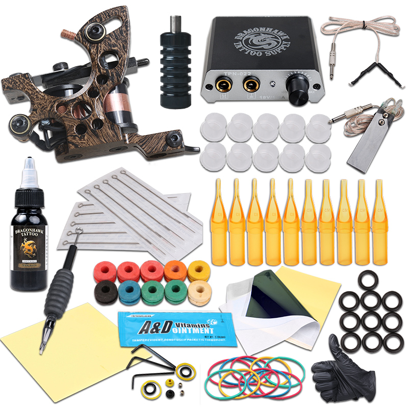 Complete Tattoo Kits Tattoo Machine Guns Black Ink Power Sets Needles Accessories For Beginner professional 1 sets tattoo ink kits 2 gun complete machine teaching cd pigment needles for beginners body art beauty tools f