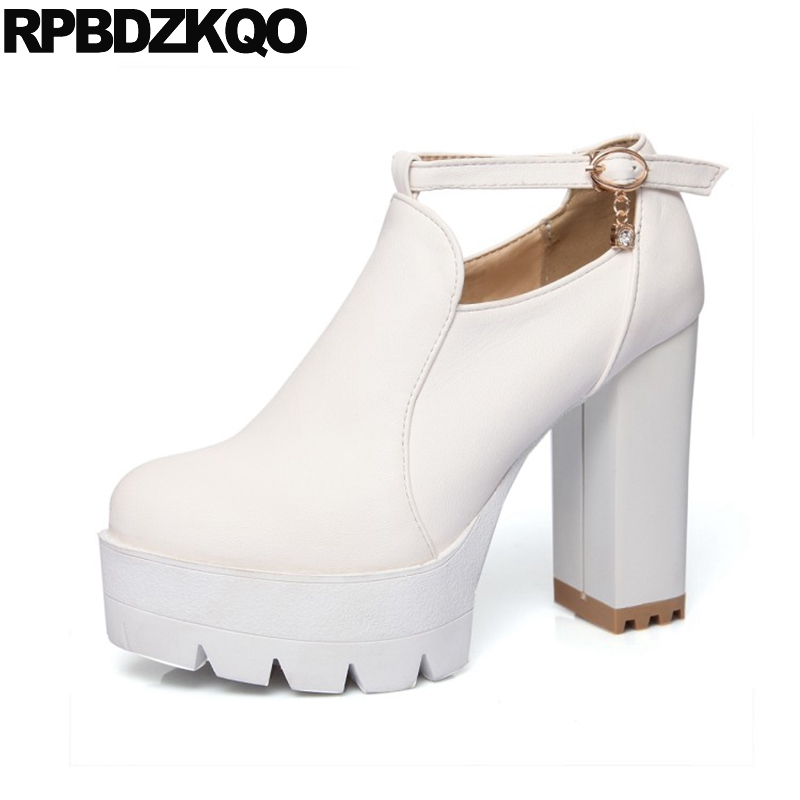 Cheap 10 White Platform Boots Ankle Extreme Waterproof Fetish Size 43 Big Women Black High Heel Shoes Gothic Booties Chunky image