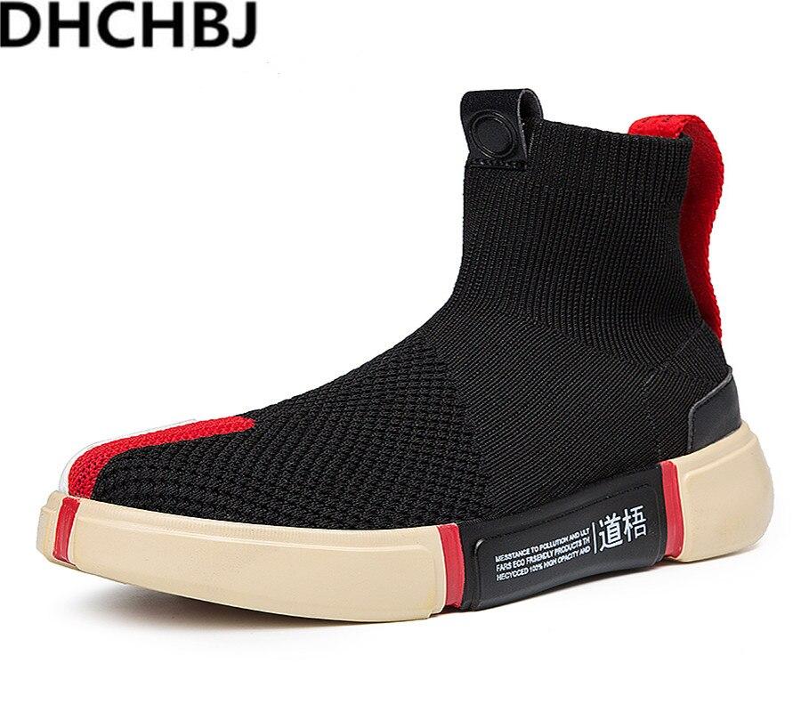 2019 poids léger haut baskets hommes tricot supérieur respirant mode Chaussures confortables hommes bottes Chaussures Homme