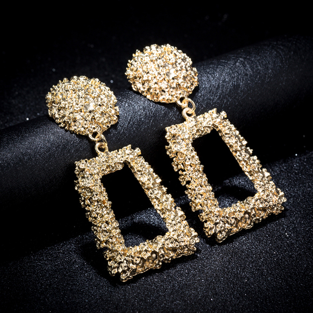 KMVEXO Big Vintage Earrings for Women Gold Silver Black Geometric Statement  Earring 2018 Metal Earing Hanging 6e5195653cd4