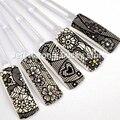 10 unids/lote Belleza 3D Nail Art Stickers Decals Herramientas Negro de Encaje de Flores de Diseño De Uñas Consejos de Decoración de Uñas Suministros