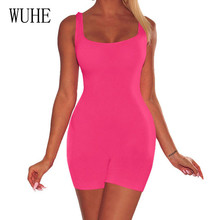 WUHE High Quality Sexy Hollow Out Sleeveless Playsuits Women Elegant Neon Green Bodycon Slim Jumpsuits Summer Casual Streetwear