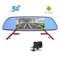 7 cal Android 5.0 Car DVR 3G Full HD 1080 P Bluetooth GPS WIFI FM 16 GB Aparat z Dwoma Obiektywami lusterko wsteczne Rejestrator Wideo