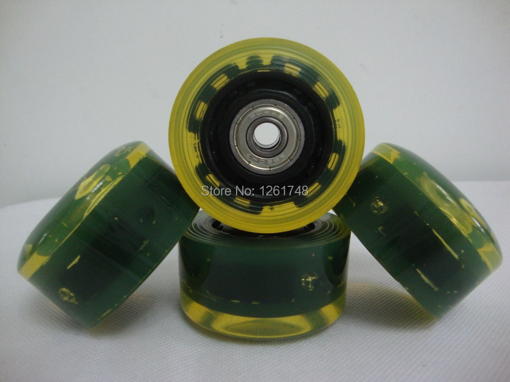 8PCS 56 32mm LED Flashing Inline Roller skate wheels With 608ZZ ABEC 7 Bearings Double Roller