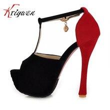 2015 neue abdeckung heels Pumps sommer marke mischfarbe t-strap damen schuhe dünne high heels frau sandalen peep toe heißer verkauf pumpen