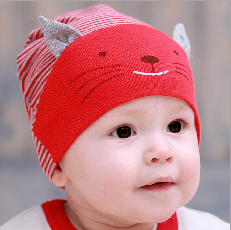 abb206e2c US $1.79 15% OFF|baby caps cute cat ear design baby beanie kids hats,boy  girls cotton striped cap newborn bebes bonnet for 1 3years old -in Skullies  & ...