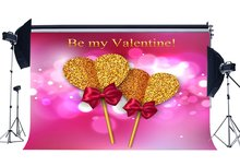 Valentines Day Backdrop Golden Sweet Hearts Bokeh Halos Glitter Sequins Red Bowknot Photography Background