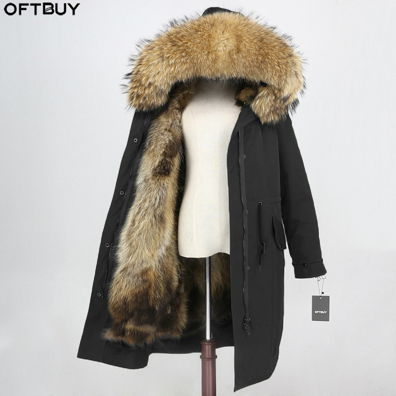 OFTBUY X-long Parka Waterproof Outerwear Winter Jacket Women Natural Raccoon Fur Hood Fox Fur Liner Real Fur Coat Detachable