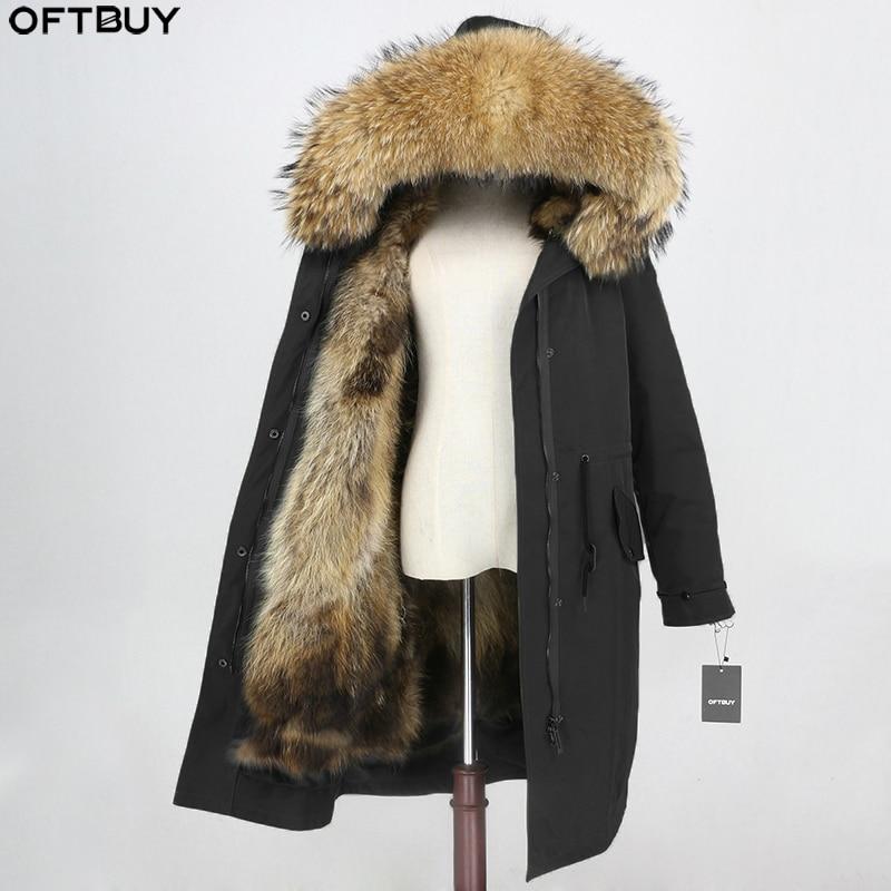 OFTBUY X-long Parka Waterproof Outerwear Winter Jacket Women Natural Raccoon Fur Hood Fox Fur Liner Real Fur Coat Detachable