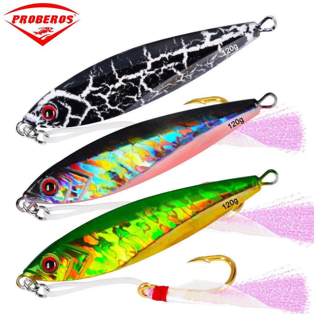 7 PC gabarits plomb poisson 120G/11 CM métal gabarit de pêche leurre avec crochets 6 couleurs Paillette couteau Wobbler artificiel dur appât