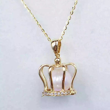 AINUOSHI 18K Yellow Gold Natural Cultured Freshwater Pearl Princess Crown Pendant Necklace for Women Wedding Engagement Birthday