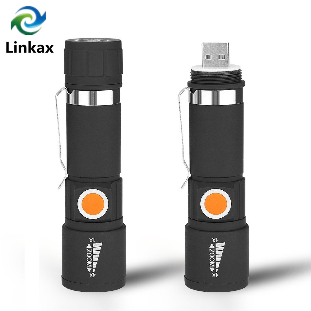 New USB LED Flashlight Rechargeable LED Torch Light Lanterna XPE LED 3 Mode Zoom Focus LED USB Torch Lamp Handy Flash Light