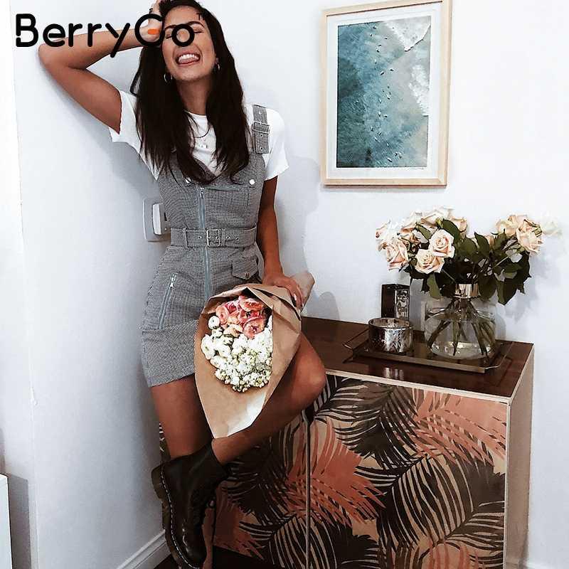 BerryGo pasek plaid blazer moto sukienka kobiety V neck kieszeń mini seksowna sukienka Sash zipper jesień zima krótki strój sundress