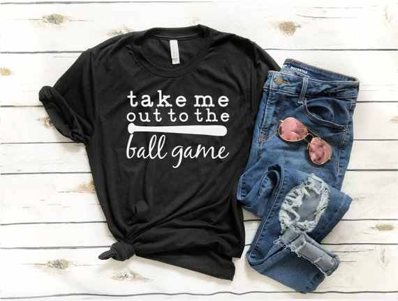 496202fd0a0 Take Me Out To The Ball Game T-Shirt Hipster Baseball Game Women Tee Casual