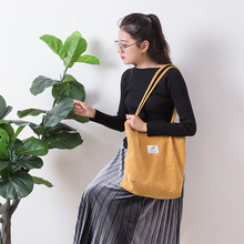 The latest Korean version of the ladies shoulder bag corduroy shopping bag students large-capacity handbags art simple bag цена 2017