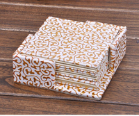 4'' square PU leateher coffee tea cup pad cup mat coaster placemat paper lace doilies gold over white 2141A
