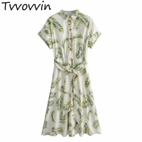 TVVOVVIN Women Palm Leaves Green Dress 2019 Summer Fashion Ladies Boho Twill Dresses Belts Bohemian Girls Chic Clothes 8142