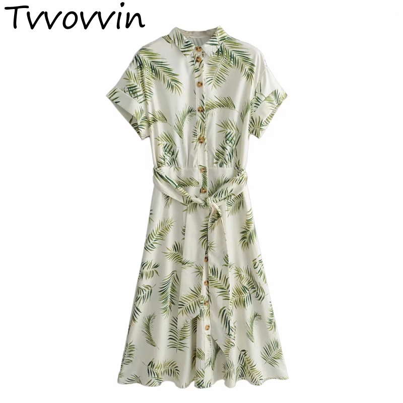 TVVOVVIN femmes feuilles de palme vert robe 2019 mode d'été dames Boho Twill robes ceintures bohème filles Chic vêtements 8142