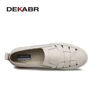 Image 2 - Мужские туфли оксфорды с вырезами DEKABR, бежевая повседневная классическая обувь из натуральной кожи, на шнуровке и плоской подошве, большие размеры 38 47, лето осень 2019