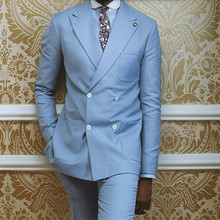 Light Blue Double Breasted Groom suits Tuxedos custom made Men Wedding suits Prom Party Suits tuxedos(jacket+pants)