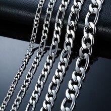 """Мужские ожерелья-цепочки 2"""" из нержавеющей стали, однотонные, серебряные, мужские подарки, ювелирные изделия"""