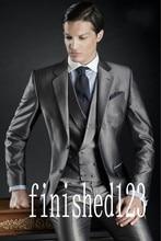 New Arrival Two Button Grey Groom Tuxedos Groomsmen Men's Wedding Prom Suits Custom Made (Jacket+Pants+Vest+Tie) K:461