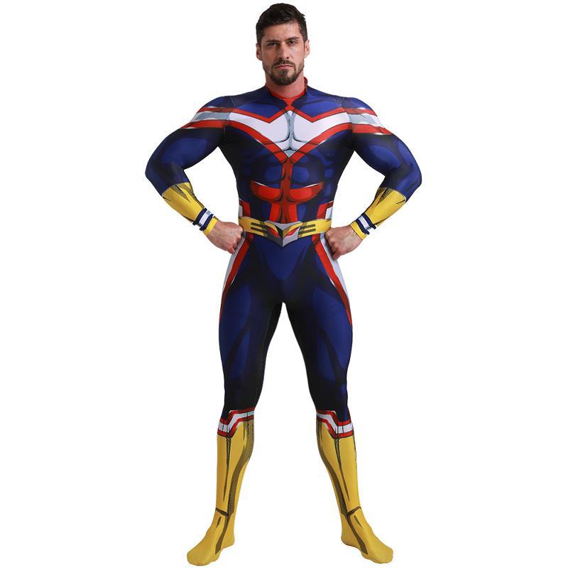 My Hero Academia Boku All Might Halloween Cosplay Costume Suit Zentai Jumpsuit