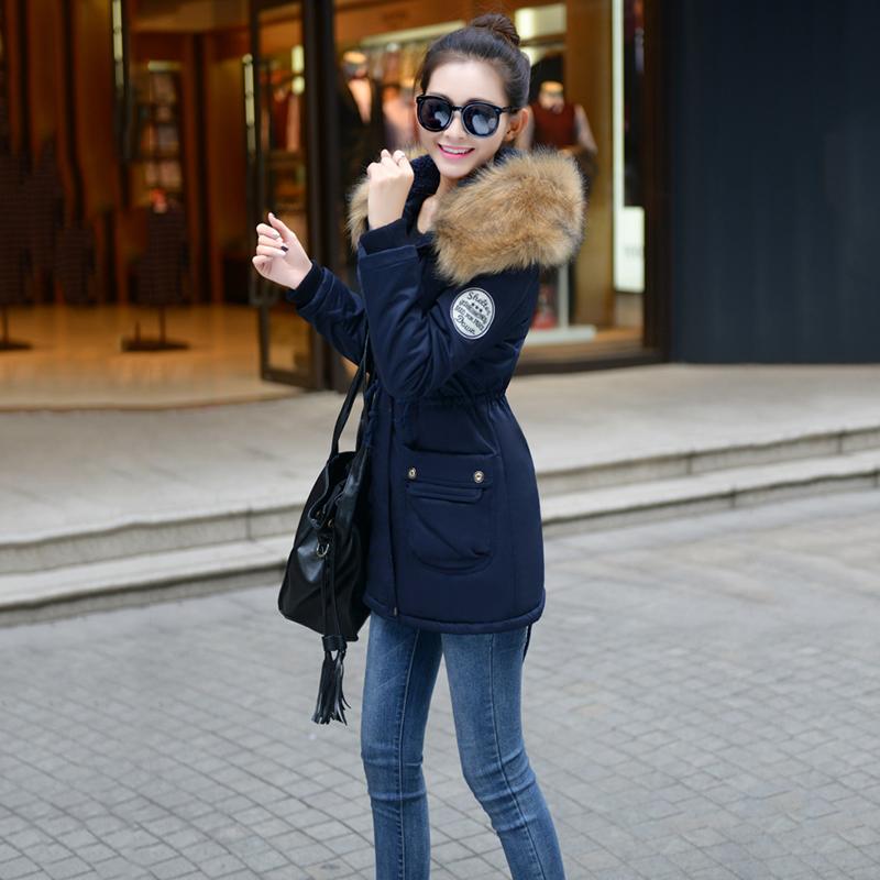 Adjustable Waist Women Parkas Big Pockets Fur Hooded Long Coats Female Outwear Cotton Warm Winter Ladies Jackets Coat MDEW541 3