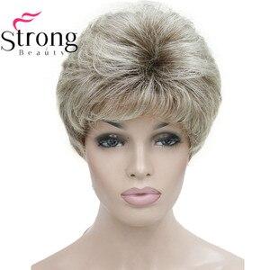 Image 5 - باروكات شعر مستعار كاملة من الشعر الطبيعي الأملس قصير بشقراء وأذنين وأذنين