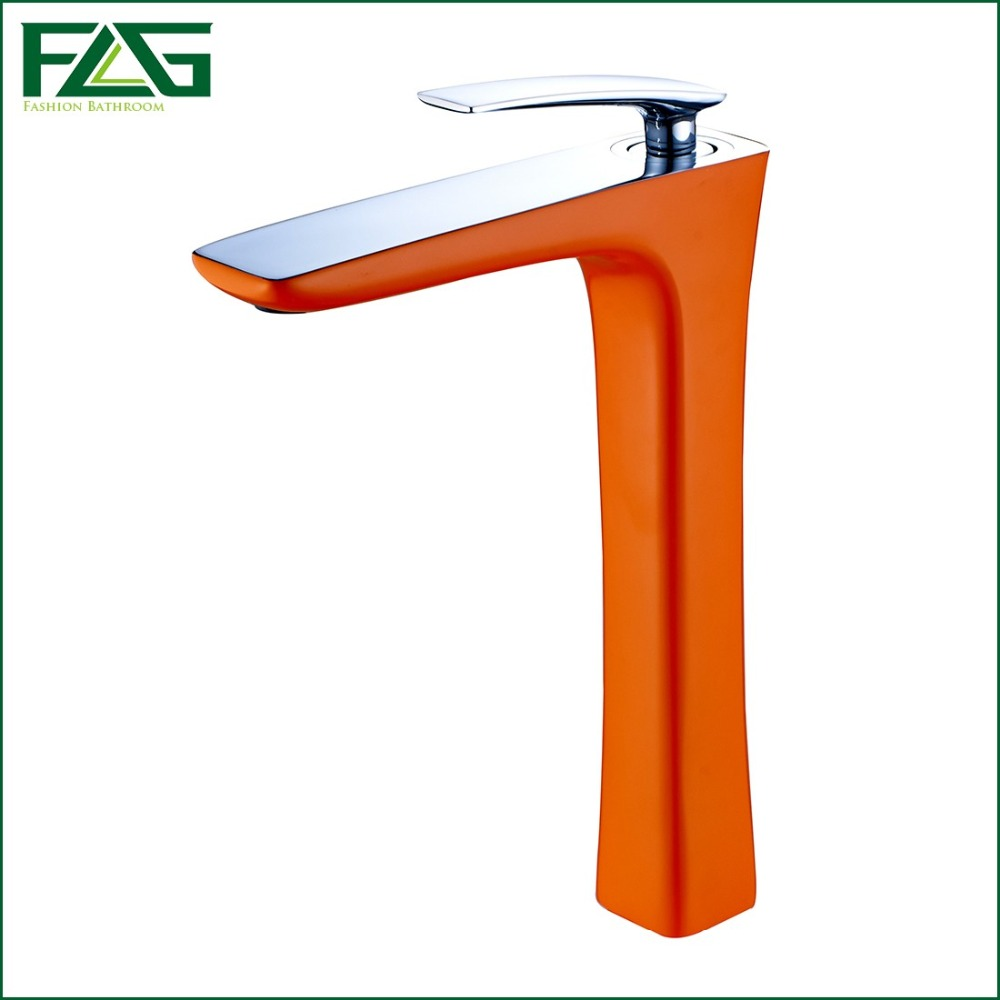 ФОТО FLG New Style Hot Sale Basin Faucet Soild Brass Chrome Cast 2 Platform Heightening Color Orange Painting Bathroom Tap M237B