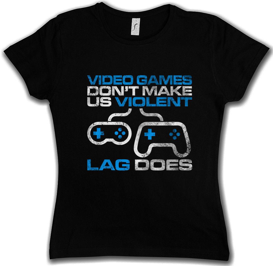 Лето 2017 хлопковые футболки видео игры не делают нас насильственные Женская футболка Fun геймерские Admin LAG делает