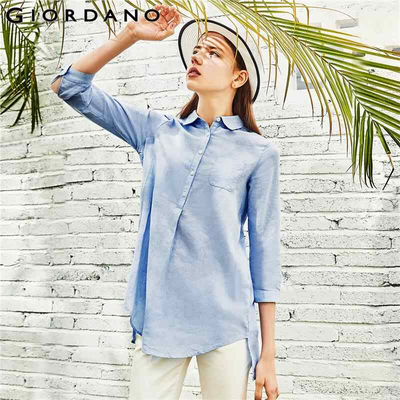 Giordano Women Shirt Mid-long Long Sleeve Blouse Women Linen Cotton Camisa Feminina Half Button Front Ladies Shirts