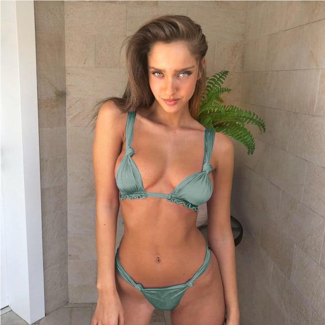 783b6b3d9901 € 9.18 15% de DESCUENTO|Aliexpress.com: Comprar Bikini fruncido 2018  pliegue Biquini brasileño Tanga Bikinis traje De baño Sexy corte traje De  ...